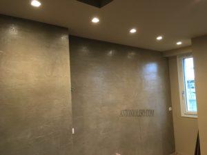 Muro effetto cemento , bagno senza piastrelle